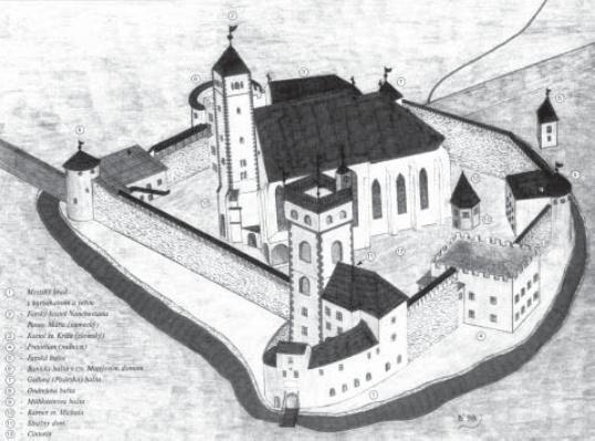 Pravdepodobný vzhľad hradného areálu okolo roku 1590